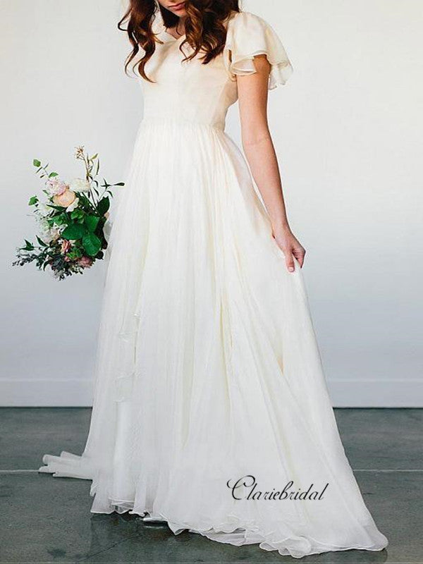 Simple Custom Chiffon Wedding Dresses, Popular Bridal Gowns, Cheap Beach Wedding Dresses