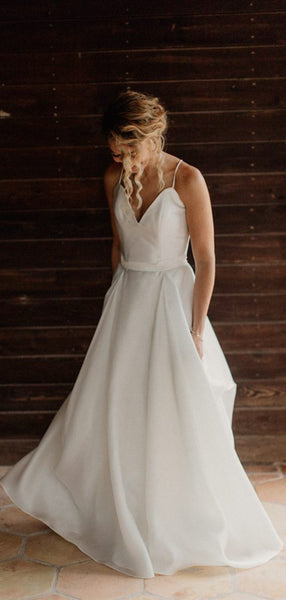 A-line Chiffon Beach Wedding Dresses, Straps V-neck Wedding Dresses