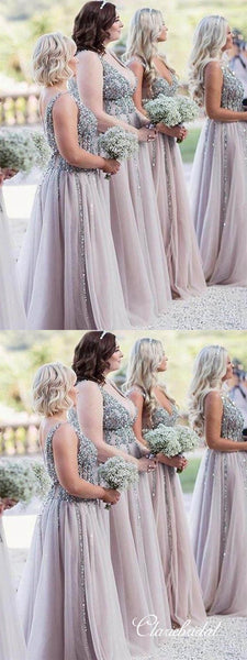 V-neck Long A-line Beaded Tulle Long Bridesmaid Dresses