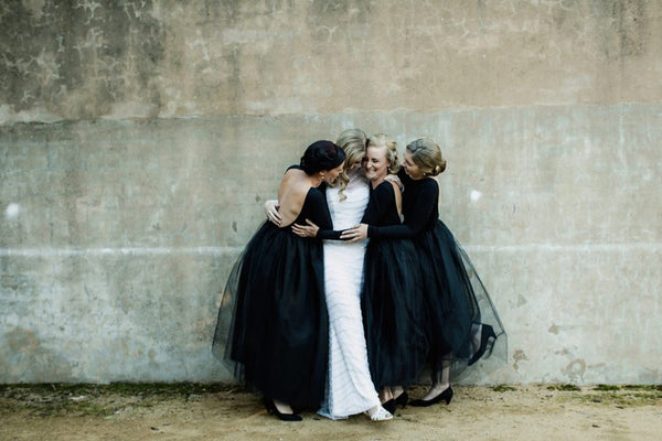 Long Sleeves Black Jersey Top Tulle Skirt Bridesmaid Dresses