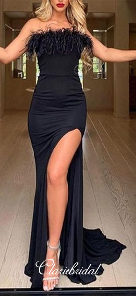 Strapless Long Mermaid Black Prom Dresses, Side Slit Prom Dresses With Feather, Chic Prom Dresses