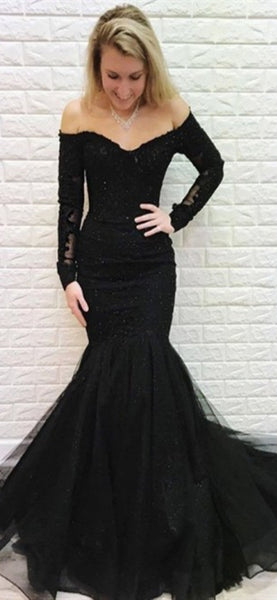 Off Shoulder Long Mermaid Prom Dresses, Lace Beaded Prom Dresses, Black Long Prom Dresses