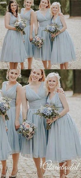 V-neck Ankle Length Light Blue Bridesmaid Dresses
