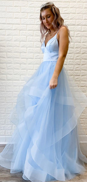 Straps Long A-line Light Blue Tulle Prom Dresses, Lovely 2020 Prom Dresses, Popular Prom Dresses