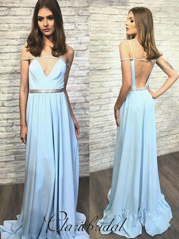 Light Blue Sexy Prom Dresses, Unique Design Prom Dresses, Cheap Prom Dresses