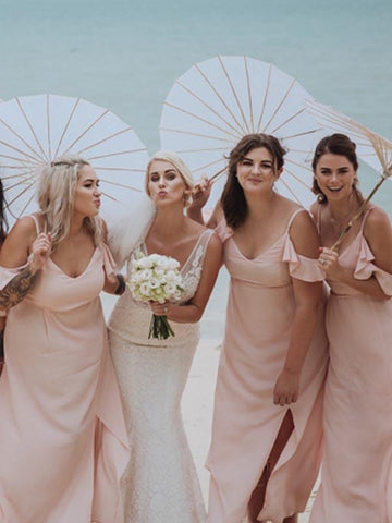 Blush Pink Chiffon Side Slit Beach Wedding Bridesmaid Dresses