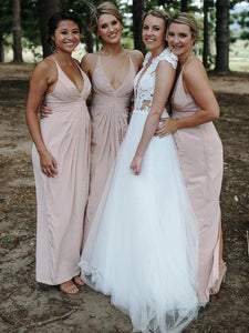 Blush Pink V-neck Long Sheath Chiffon Bridesmaid Dresses