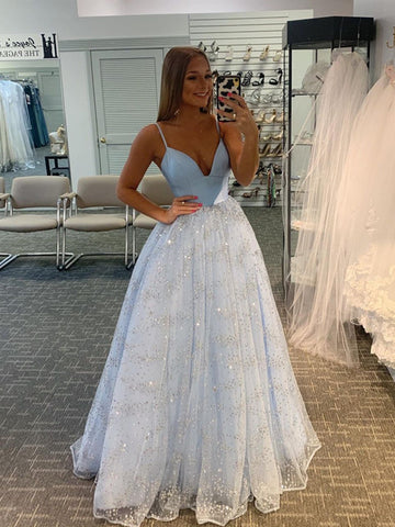 Light Blue A-line Long Prom Dresses 2021, Sequins Spaghetti Straps Evening Party Dresses