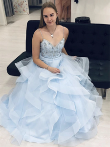 Blue Tulle Beads A Line 2021 Long Prom Dresses, Fluffy Graduation Party Prom Dresses