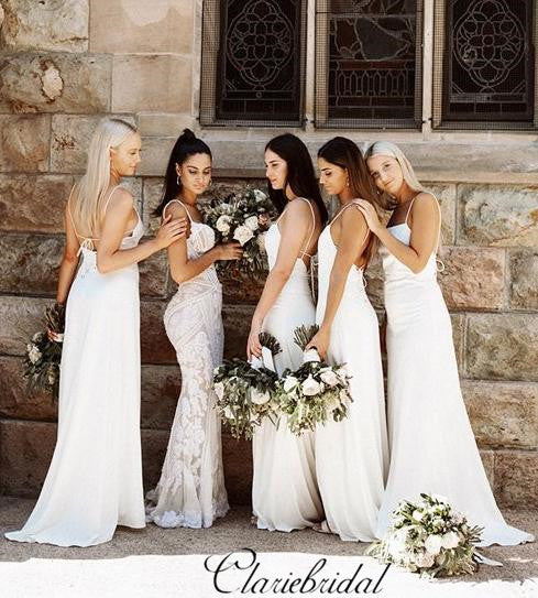 Spaghetti Long A-line Counrty Wedding Ivory Bridesmaid Dresses