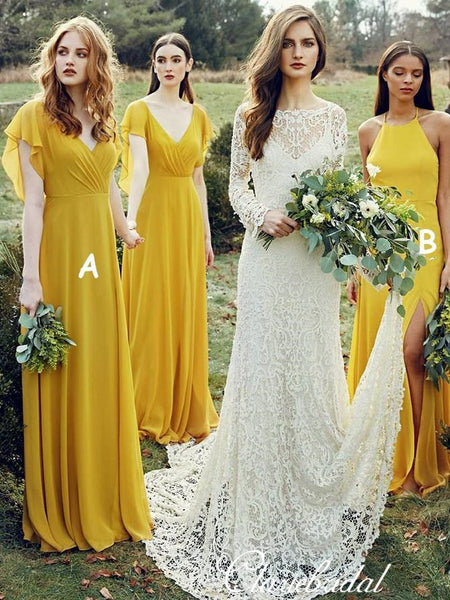 Mismatched Ginger Yellow A-line Chiffon Long Bridesmaid Dresses