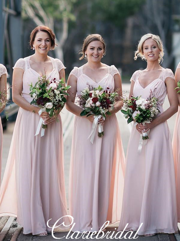 Cap Sleeves Long Pink Chiffon Lace A-line Bridesmaid Dresses