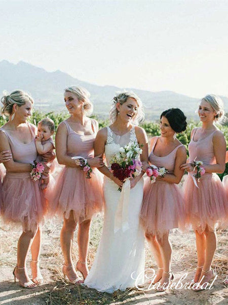 Nude Color Short Tulle Beach Wedding Guest Dresses, Bridesmaid Dresses
