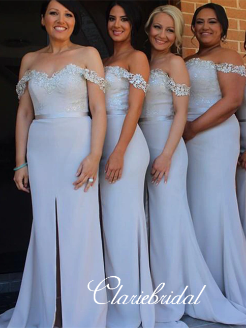 Off Shoulder Light Grey Lace Jersey Long Bridesmaid Dresses