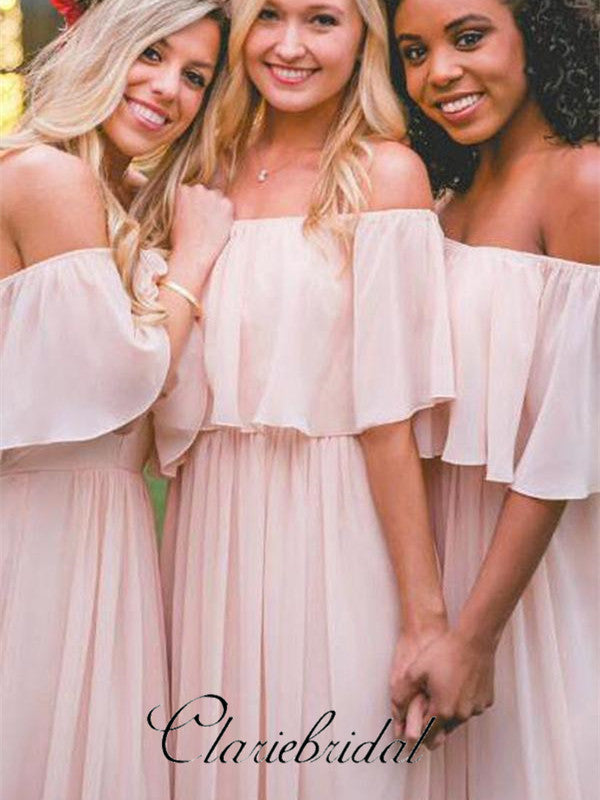 Off Shoulder Blush Pink Chiffon Long Bridesmaid Dresses