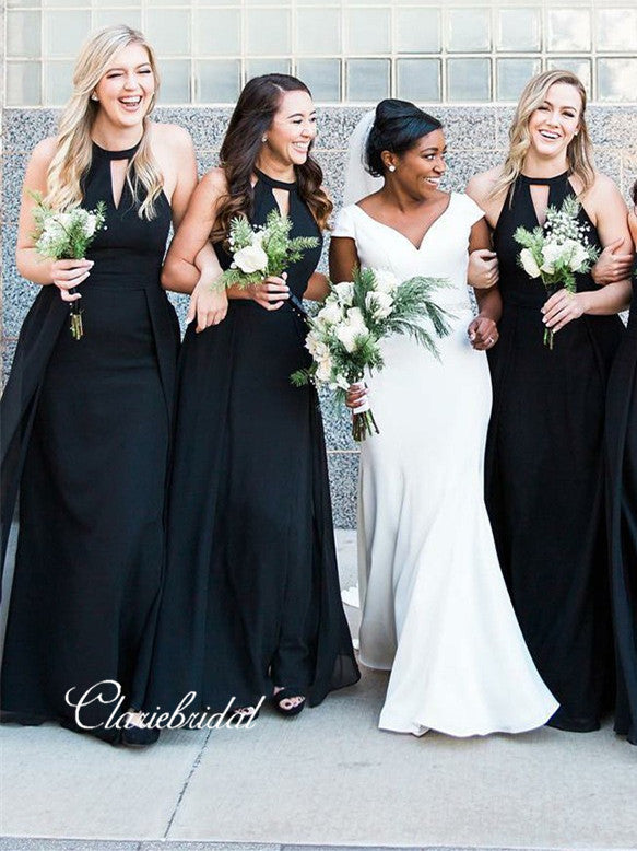 Long A-line Black Chiffon Bridesmaid Dresses With Key Hole