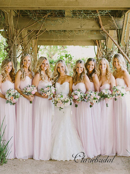Sweetheart Pale Pink Long A-line Chiffon Bridesmaid Dresses