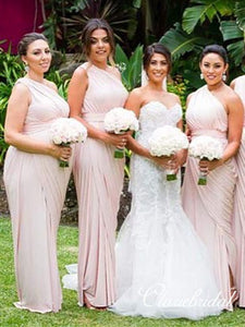 Pale Pink One Shoulder Sheath Jersey Bridesmaid Dresses