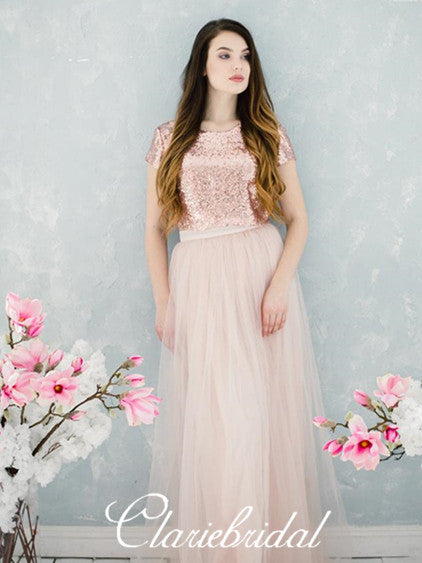 2 Pieces Rose Gold Sequin Tulle Long Bridesmaid Dresses