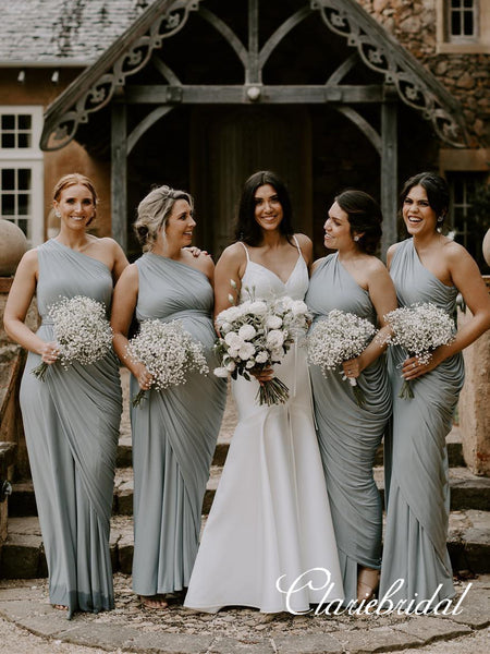 One Shoulder Sheath Grey Jersey Long Bridesmaid Dresses