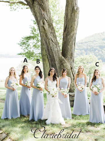 Mismatched Dusty Blue Long Bridesmaid Dresses, Popular Bridesmaid Dresses