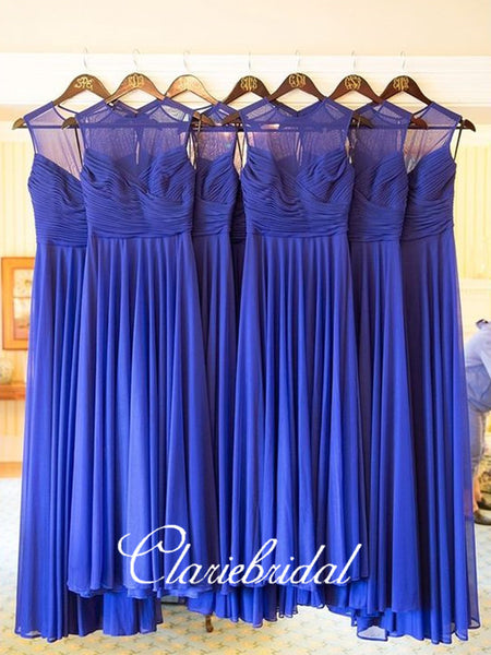 A-line Royal Blue Chiffon Bridesmaid Dresses, Long Wedding Guest Dresses