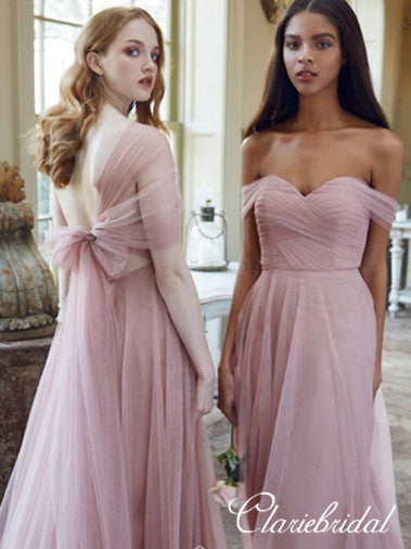 Off Shoulder Pink Tulle A-line Bridesmaid Dresses
