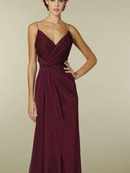 Spaghetti A-line Maroon Chiffon Bridesmaid Dresses, Wedding Guest Dresses