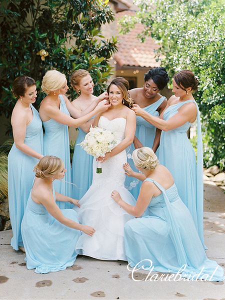 Mismatched Blue Chiffon A-line Long Bridesmaid Dresses