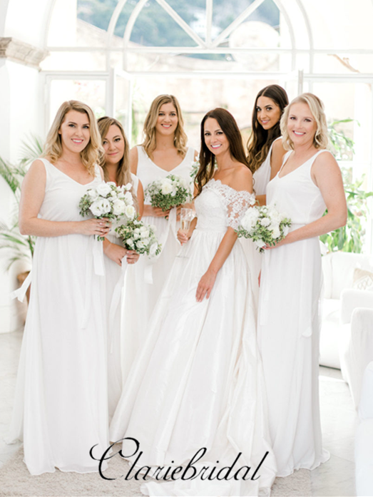Simple V-neck A-line Jersey Bridesmaid Dresses