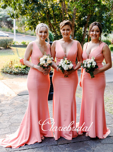 Peach Mermaid Long Bridesmaid Dresses, Jersey Bridesmaid Dresses