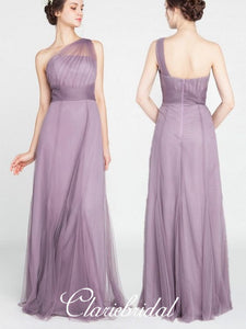 One Shoulder A-line Purple Tulle Long Bridesmaid Dresses
