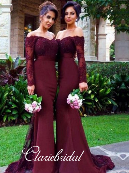Long Sleeved Off Shoulder Mermaid Long Bridesmaid Dresses
