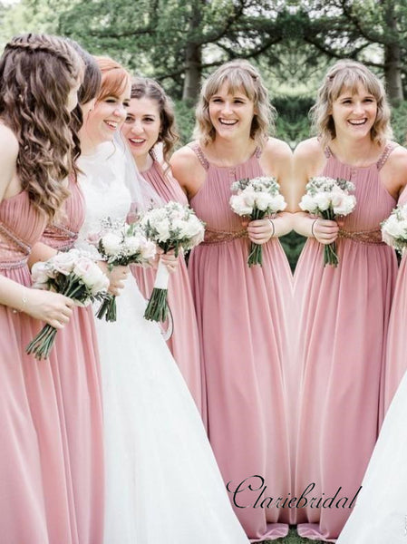 Dusty Rose A-line Beaded Chiffon Long Bridesmaid Dresses