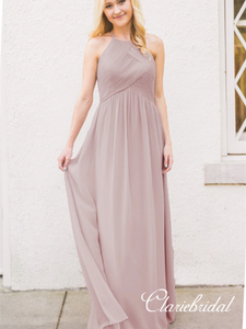 A-line Simple Design Open Back Chiffon Long Bridesmaid Dresses