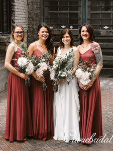 Rust Red A-line V-neck Simple Long Bridesmaid Dresses