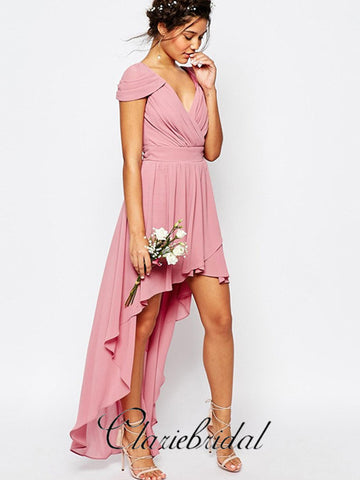 Cap Sleeve Hi-low Chiffon Long Bridesmaid Dresses