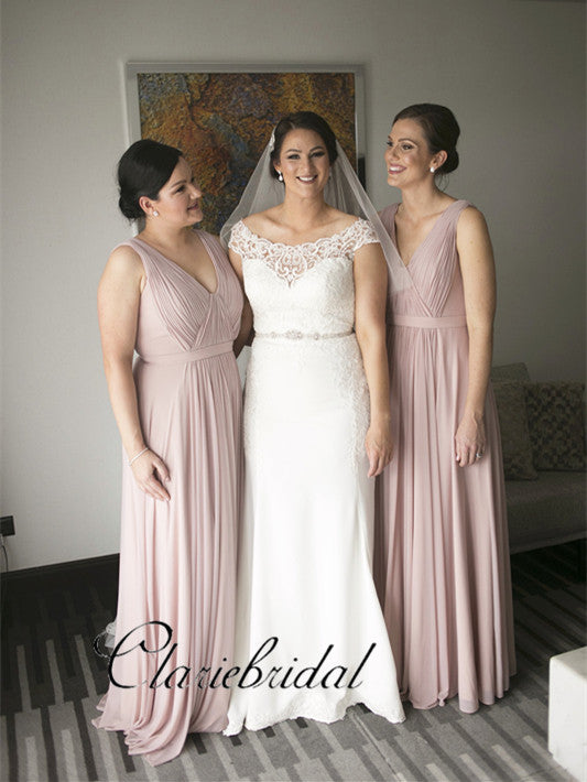 Newest V-neck A-line Chiffon Bridesmaid Dresses, Long Bridesmaid Dresses