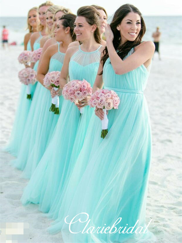 Illusion A-line Tulle Long Bridesmaid Dresses
