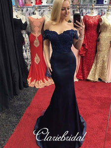 Off Shoulder Mermaid Navy Lace Elastic Satin Prom/Bridesmaid Dresses