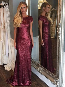 Cap Sleeve Long Sheath Sequin Bridesmaid Dresses, Wedding Part Dresses