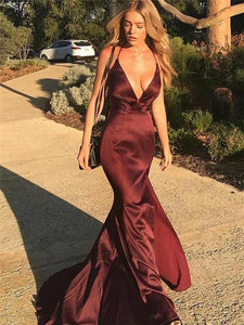 Sexy Maroon Elastic Satin Prom Dresses, Long Prom Dresses, Popular Prom Dresses