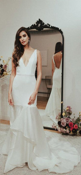 V-neck Long Mermaid Wedding Dresses, Simple Long Wedding Dresses, Newest Wedding Dresses