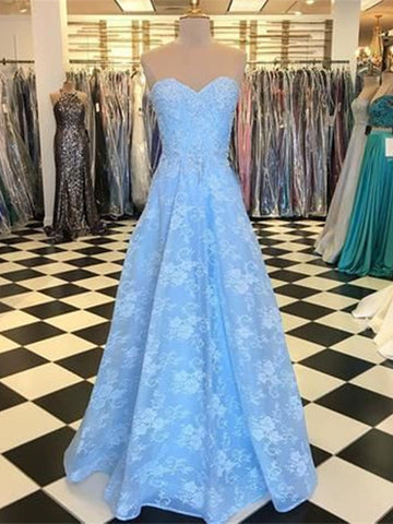 Strapless Blue Lace Prom Dresses, A-line Lace Long Prom Dresses