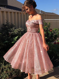 Off Shoulder Rose Gold Sequin Tulle Homecoming Dresses, Short Prom Dresses, Shiny Homecoming Dresses