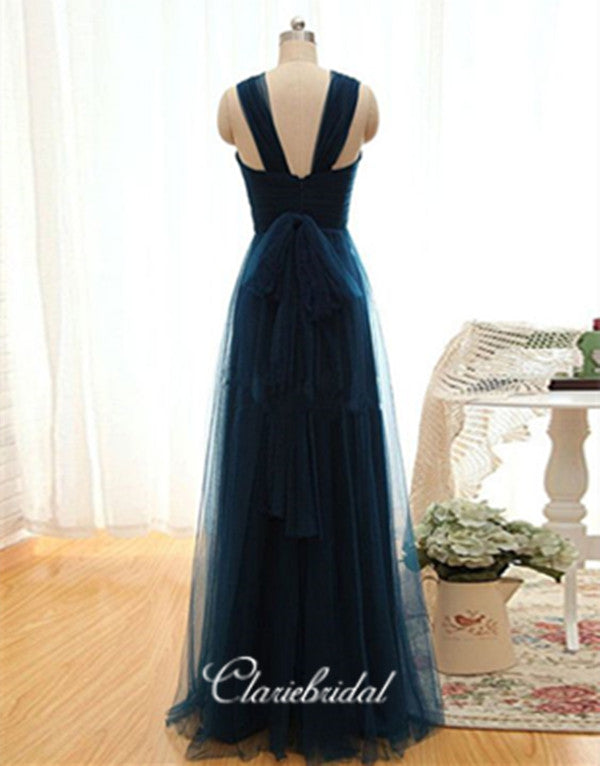 A-line Tulle Long Prom Dresses, Simple Custom Design Prom Dresses
