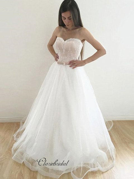 Strapless Sweetheart Wedding Dresses, Tulle Lace Wedding Dresses, A-line Bridal Gowns