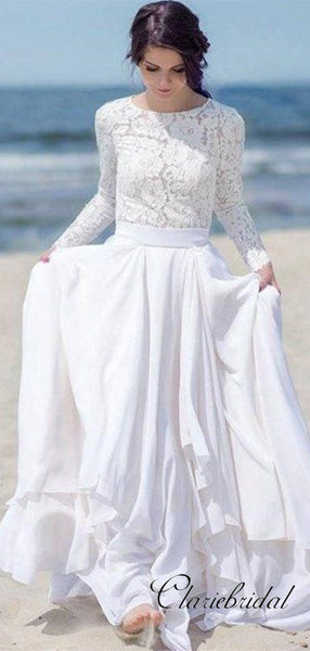 Long Sleeves Beach Wedding Dresses, Fashion Lace Wedding Dresses, Bridal Gowns