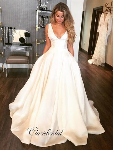 Custom Simple Design Stain A-line Wedding Dresses, Popular V-neck Wedding Dresses