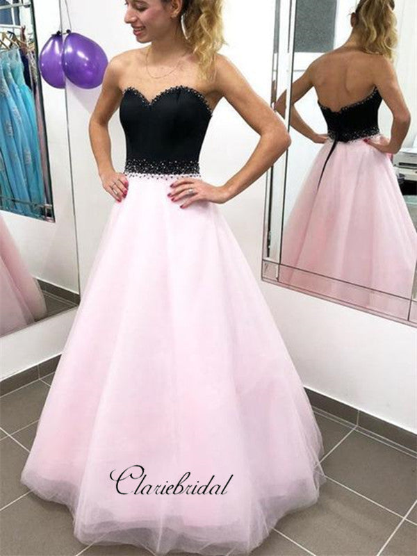 Strapless Beaded Organza Prom Dresses, Simple A-line Prom Dresses